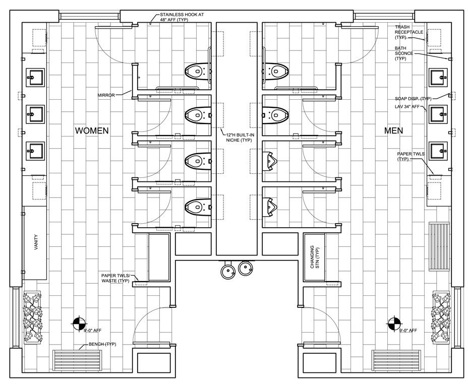 Public restroom design google search public toilet for Bathroom sample layouts