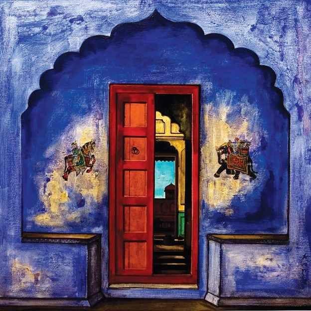 Painting depicting Rajasthani doorway, by K.R. Santhana Krishnan; Chennai.    Indian art paintings, Indian doors, Painting