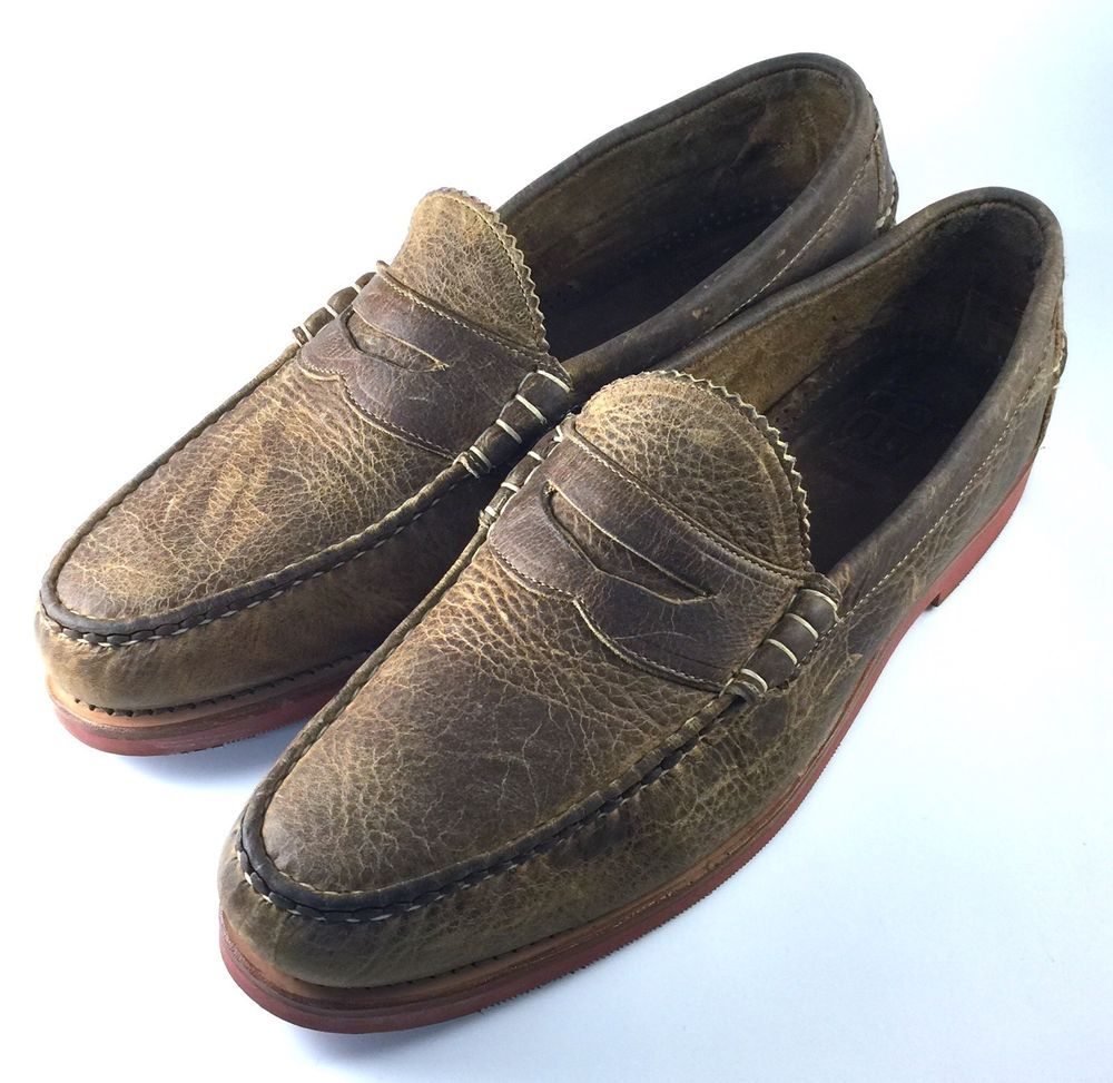 distressed penny loafers