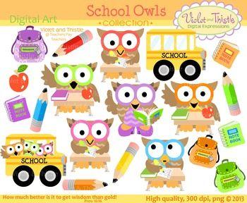 School Owls Clipart School Bus Student Teacher Backpack Pencil ...