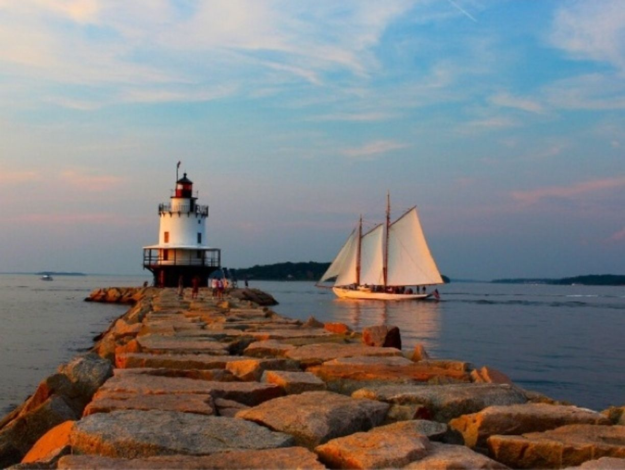 Beautiful sunset at the spring point lighthouse