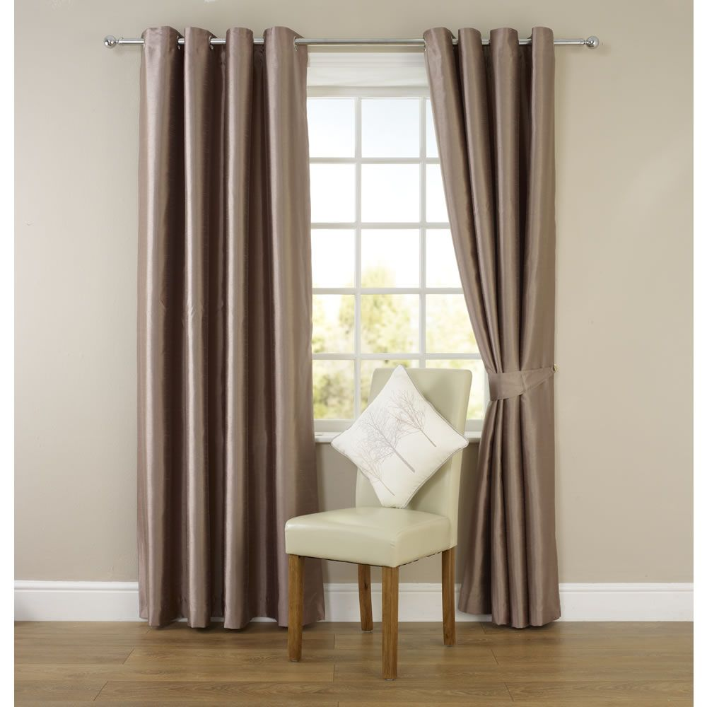 Wilko Faux Silk Eyelet Curtains Mink 167cm x 228cm Curtains
