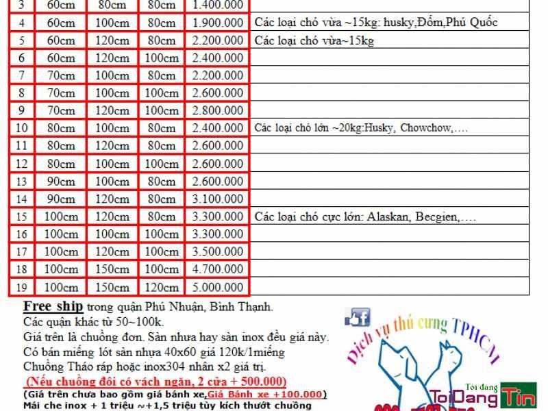 [Sài Gòn] NHẬN LÀM CHUỒNG CHÓ INOX mọi kích cỡ -  Cửa hàng chuyên làm chuồng chó bằng inox 201 và inox 304:  (không làm chuồng Sắt)         +Theo giá sản phẩm có sẵn kích thướt (bảng giá đính kèm bên dưới)         + Theo khối lượng (KG) inox làm ra, bao nhiêu kg thì tính tiền bấy nhiêu. -Tất cả chuồng sẽ làm theo MẪU CHUNG (Hình) những thứ khác như cửa xoay, tô treo,  miếng lót nhựa…. sẽ tính giá tùy theo yêu cầu. -  MIỄN PHÍ VẬN CHUYỂN trong Q.Phú Nhuận+Bình Thạnh, các quận khác sẽ thu phí…