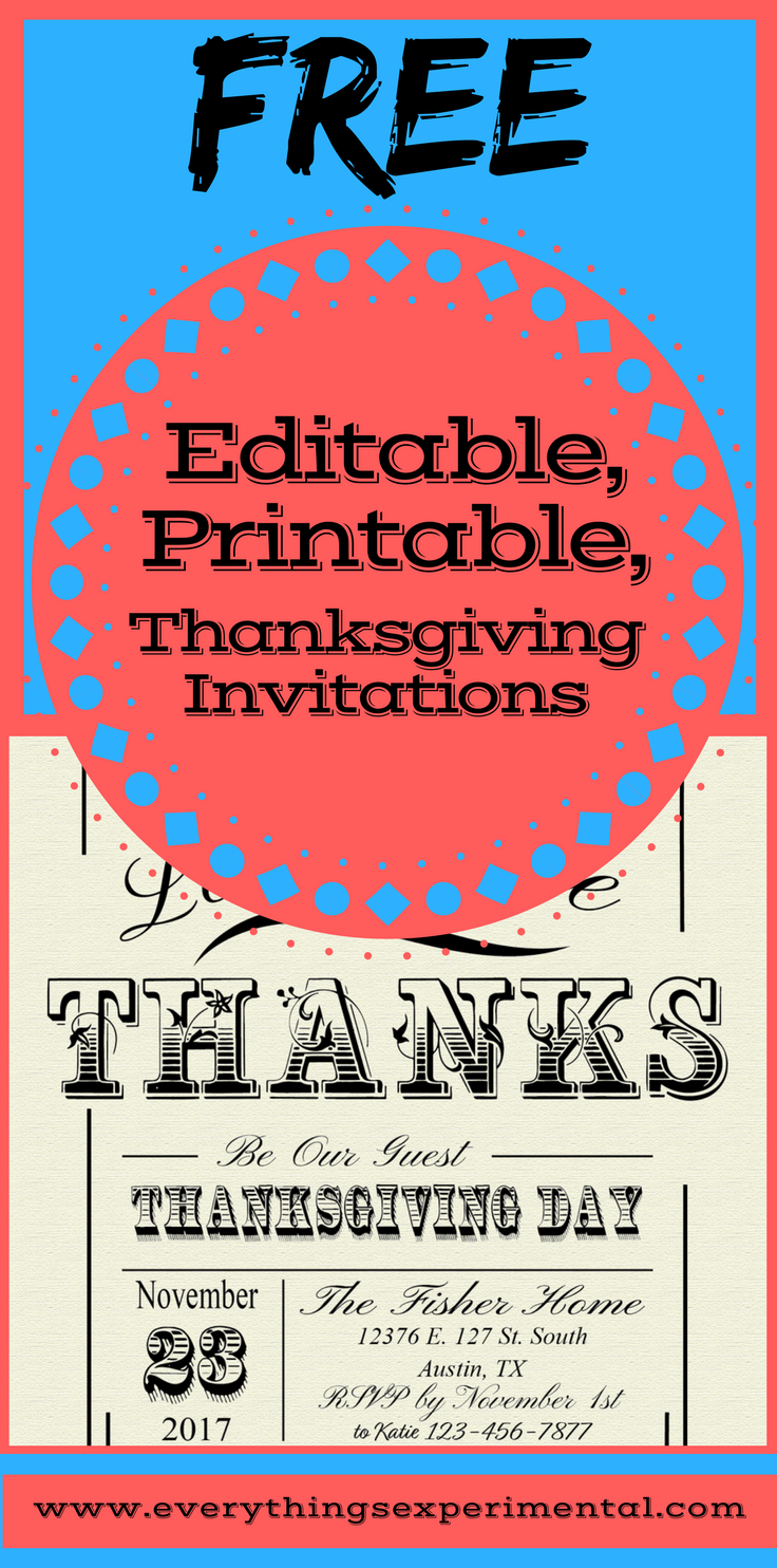 photo about Printable Thanksgiving Invitations titled Absolutely free 5x7 Editable, Printable, Thanksgiving Invites