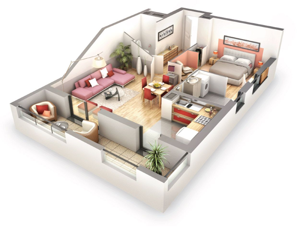 plan appartement 70m2 3d