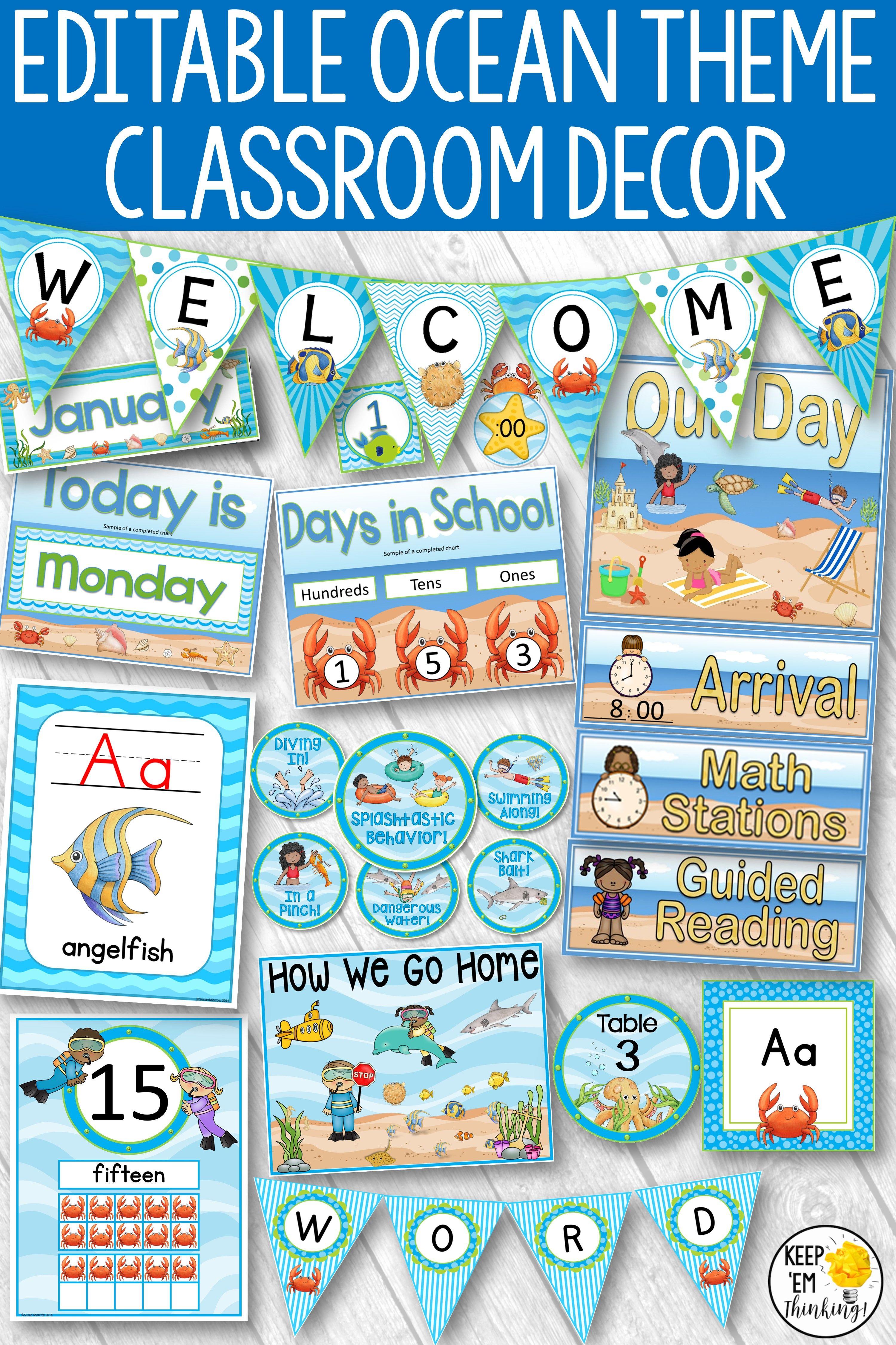 Ocean Theme Classroom Decor Bundle Editable Classroom