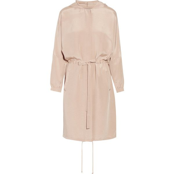 Tibi Hooded silk crepe de chine coat (1 675 AUD) ❤ liked on Polyvore featuring outerwear, coats, neutrals, tibi coat, pink coat, hooded coat, tibi and silk coat