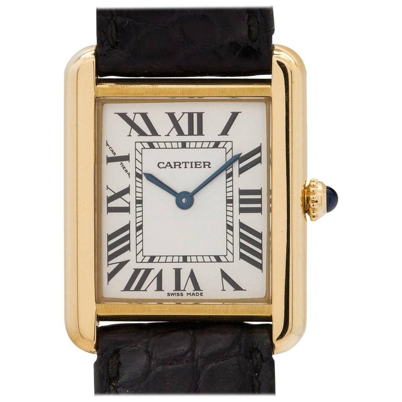 Vintage Wedding Dresses Miami: Cartier Ladies Yellow Gold Tank Solo Quartz Wristwatch