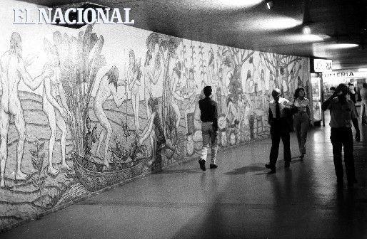Mural del artista César Rengifo. Caracas, 13-10-1982 (GUSTAVO LOMBARDI / COLECCION ARCHIVO EL NACIONAL)