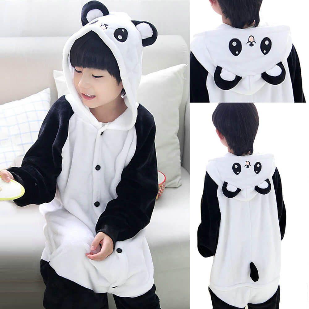 21042f97ed00 Kids Panda Onesies Hoodie Animal Pajamas Kigurumi Costume Pyjama ...