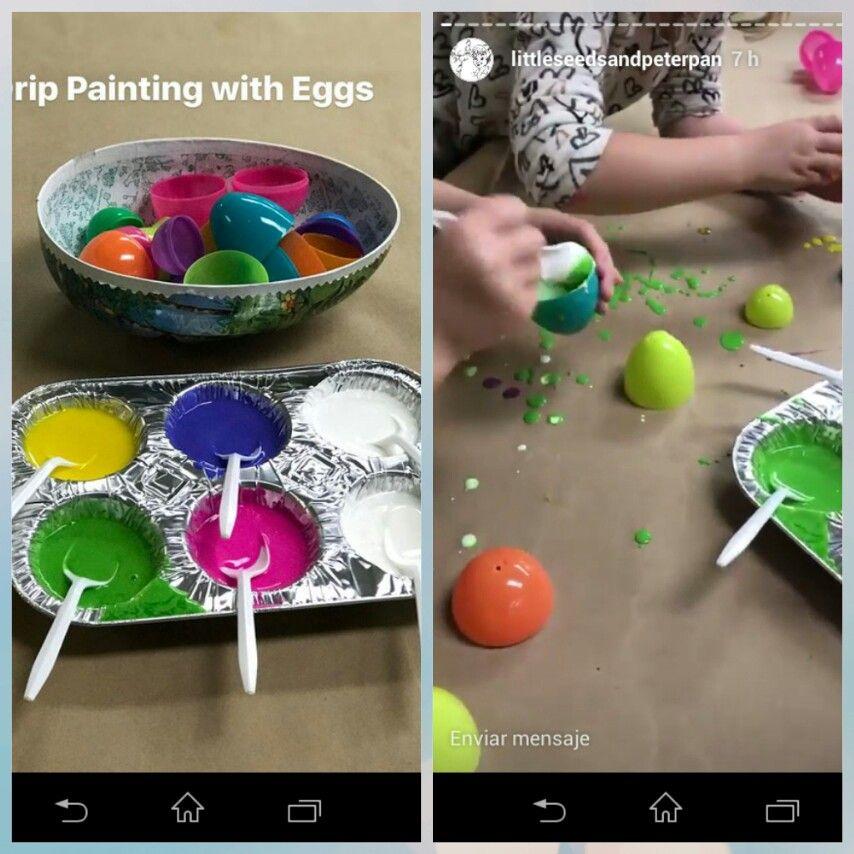 Pintar con huevos de pascua. Tienen unos agujeros que gotean pintura.