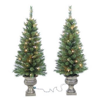 3 12 ft potted pre lit christmas tree set indoor and outdoor