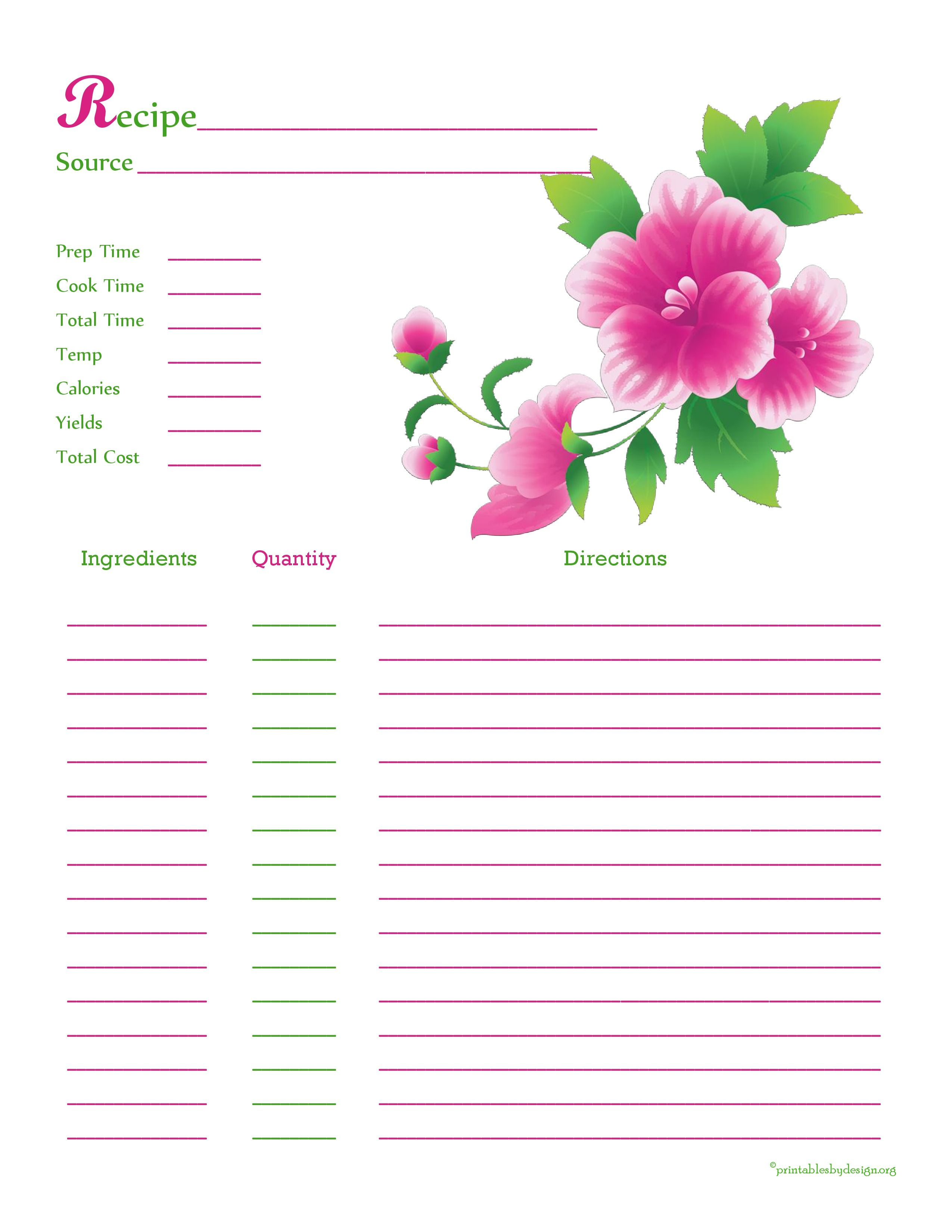 Pink Green Flower Recipe Card Full Page Recipe Cards Template Recipe Cards Printable Recipe Cards