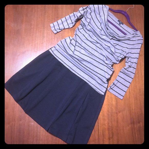 "Navy Ponte Pleated Skirt NWOT Navy ponté pleat skirt. Measures 19-1/2"" length. Lands' End Skirts"