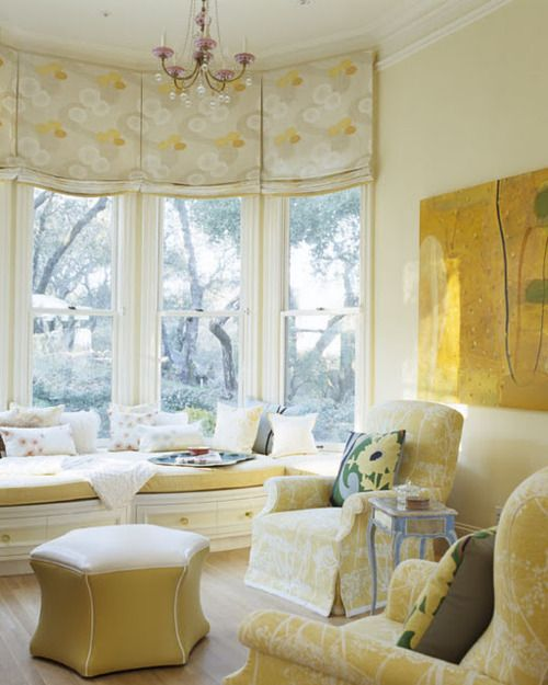 Awesome Curtain Ideas For Bay Window Living Room Eclectic: Window Seat Design, Flat Roman Shade, Window Seat