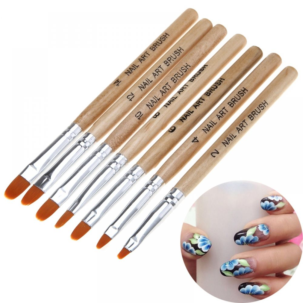 Set Nail Art Round Brushes For Gel Polish In 2020 Gel Nail Art Designs Nail Art Nail Art Brushes