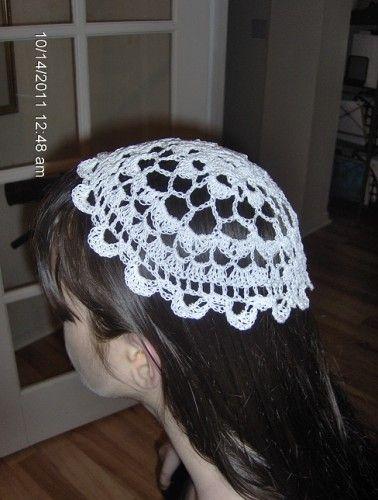 Round Crocheted Catholic Chapel Veil Cap In White Crochet Hair Accessories Crochet Custom Crochet