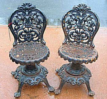 Pr Victorian Cast Iron Swivel Chairs