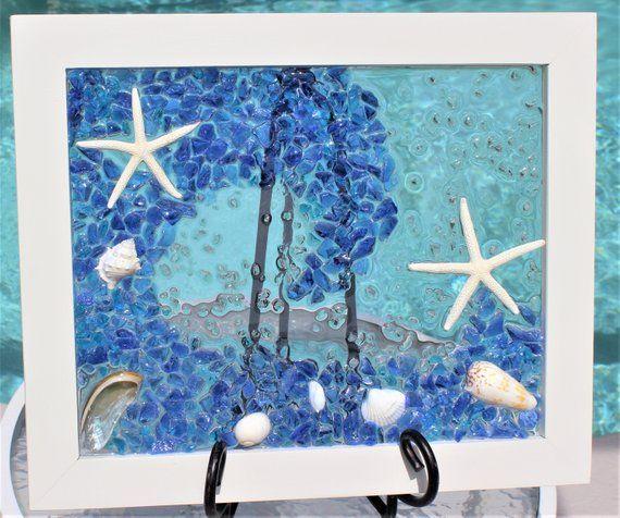 Ocean Wave Art Sea Glass Art Coastal Wall Art Beach Wall Art
