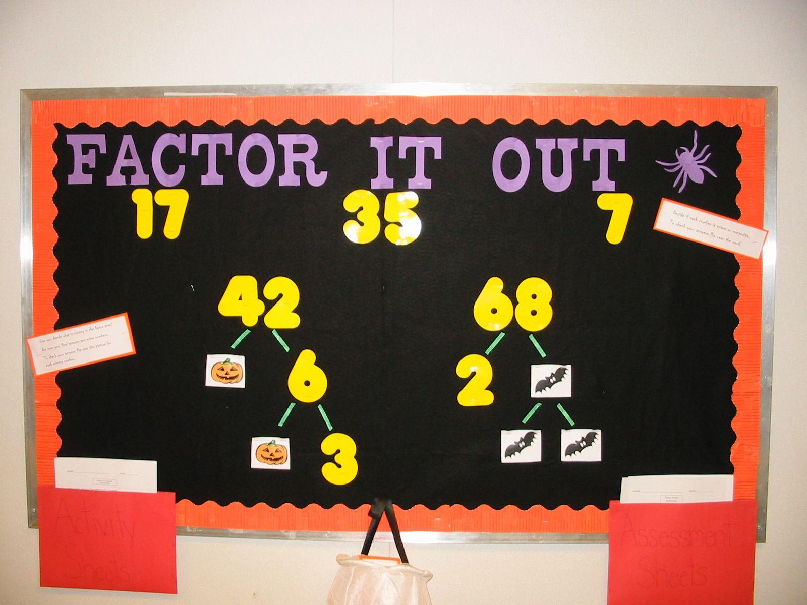 Factor It Out Bulletin Board Idea Math Bulletin Boards Bulletin