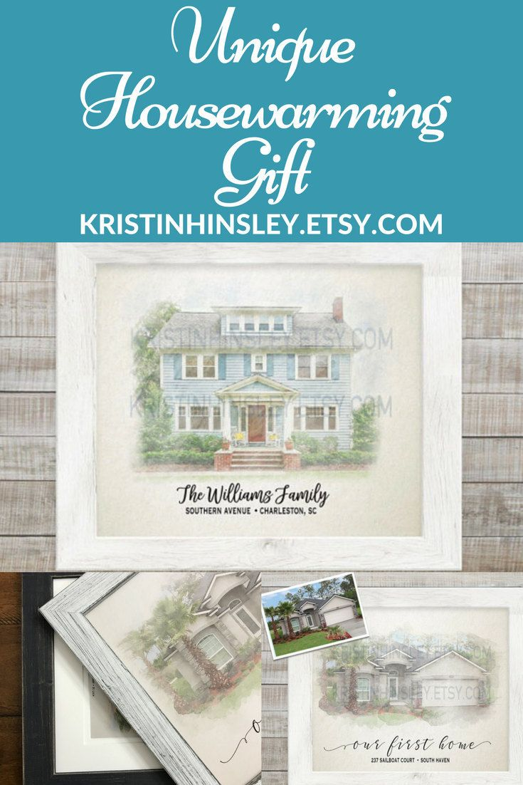 New Home Housewarming Gift Custom House Portrait Watercolor Painting ...