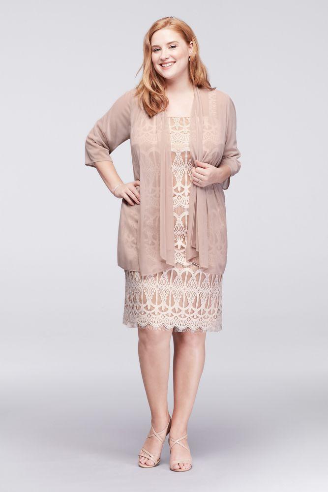 Plus Size Applique Lace Petite Mother of Bride Groom Dress with