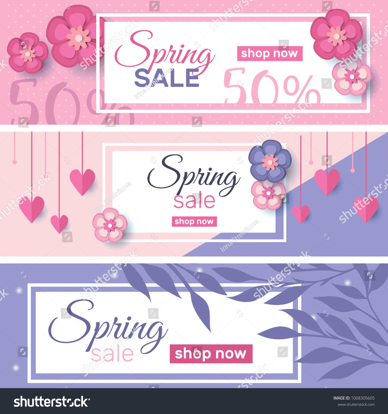 Spring Sale Concept Banners And Promotion Elements Vector