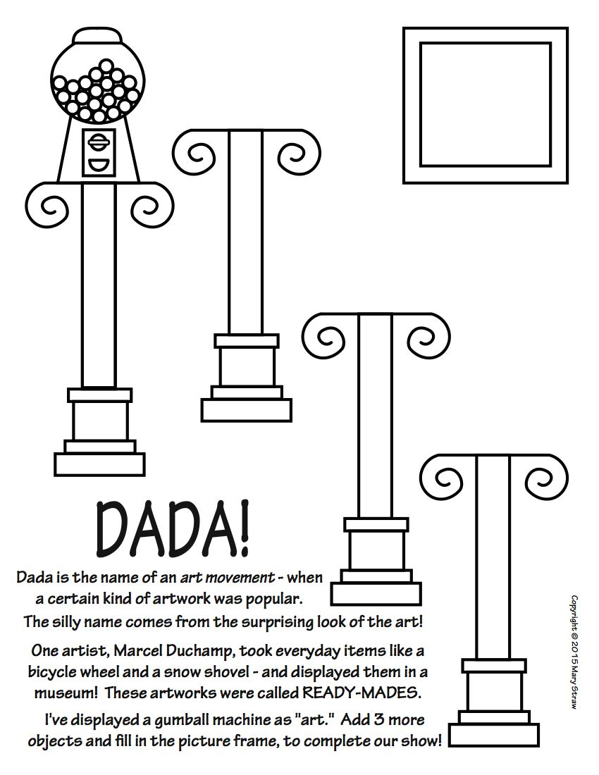 art enrichment everyday february activity coloring pages dada