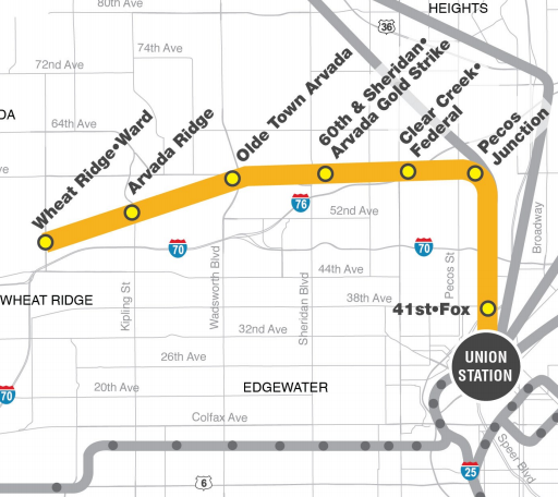 Map of Gold G Line Stations in Arvada Colorado Copyright RTD