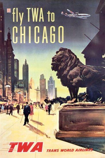 TWA Chicago Super Constellation 1950s - www.MadMenArt.com features over 400…