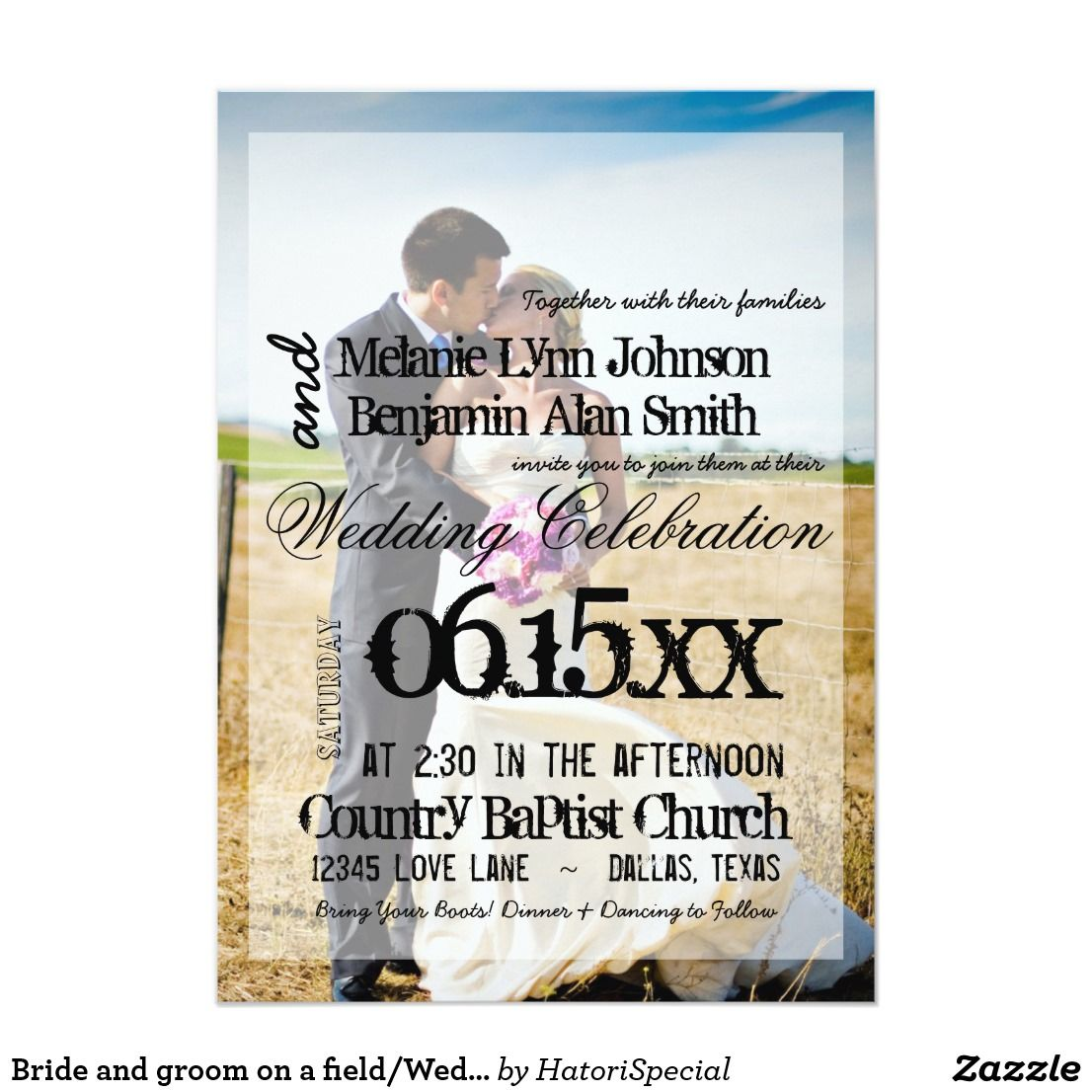 Bride And Groom On A Field Wedding Invitation Love Photo Thank
