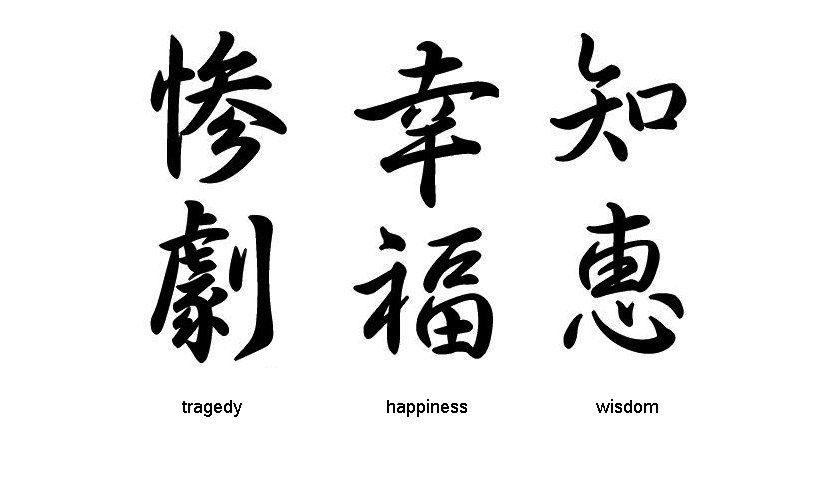 100 Beautiful Chinese Anese Kanji Tattoo Symbols Designs Tragedy Hiness Wisdom