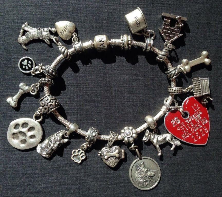 Vintage Charm Bracelet Collection Baby German Shepherd Dog