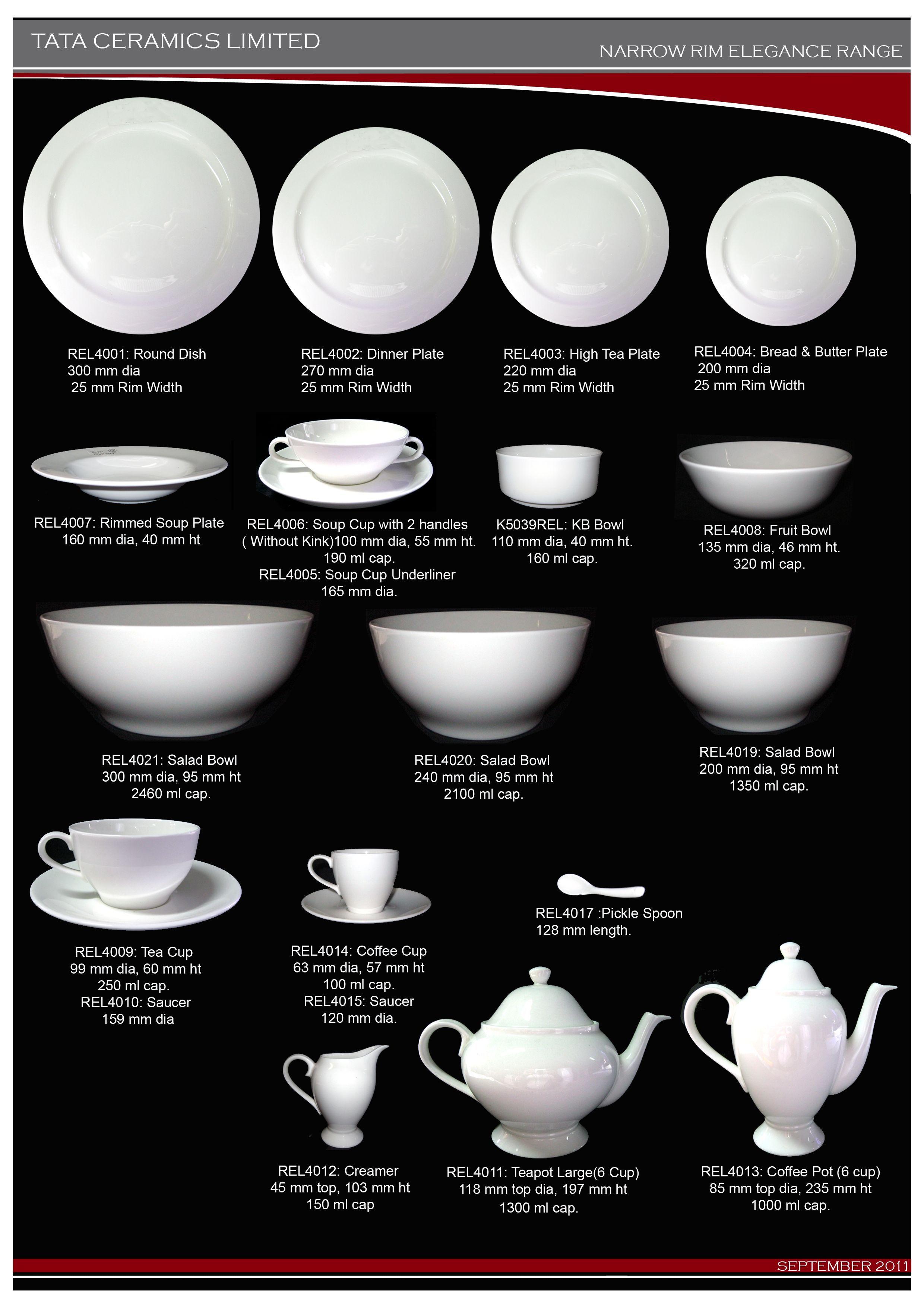 Narrow Rim Elegance Range Bone China Rim Tableware
