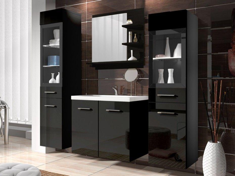 Ensemble LAURINE  leds pas cher meubles de salle de bain noir prix