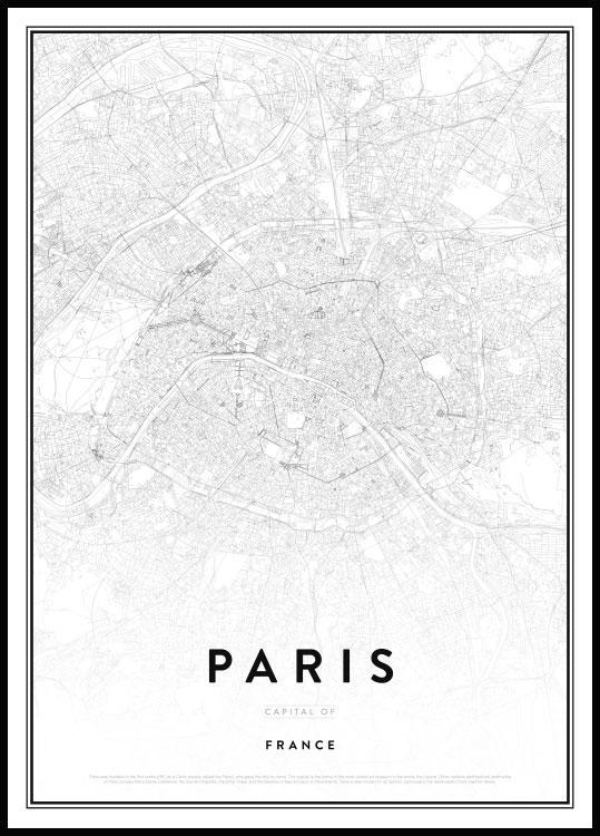Cartina Della Francia In Bianco E Nero.Poster In Bianco E Nero Della Mappa Di Parigi Capitale