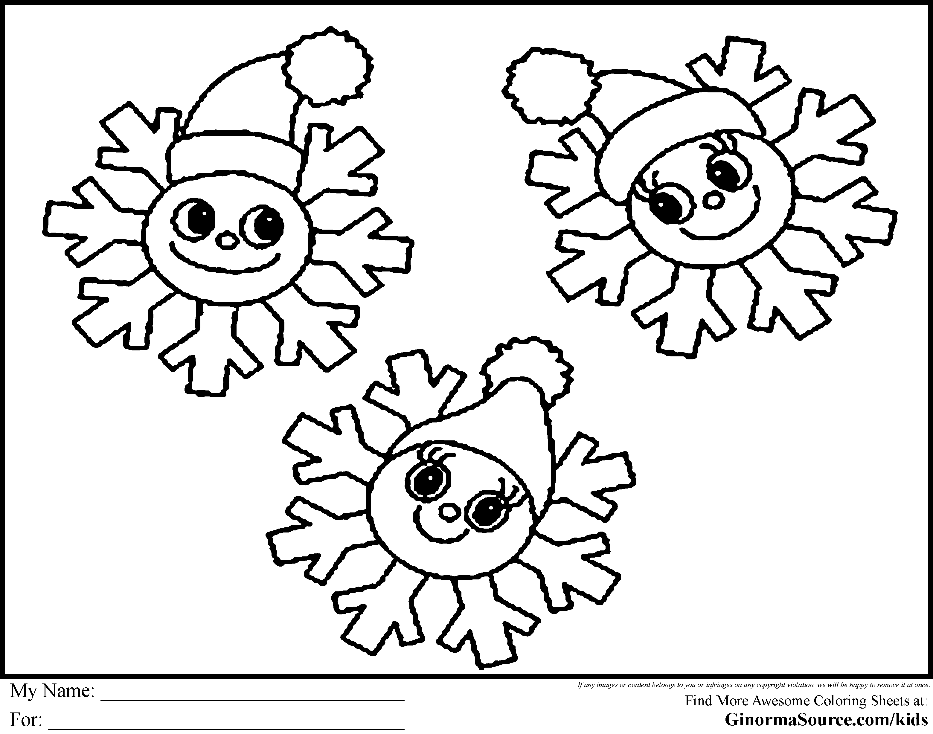 Printable Snowman Faces Snowflake Coloring Pages