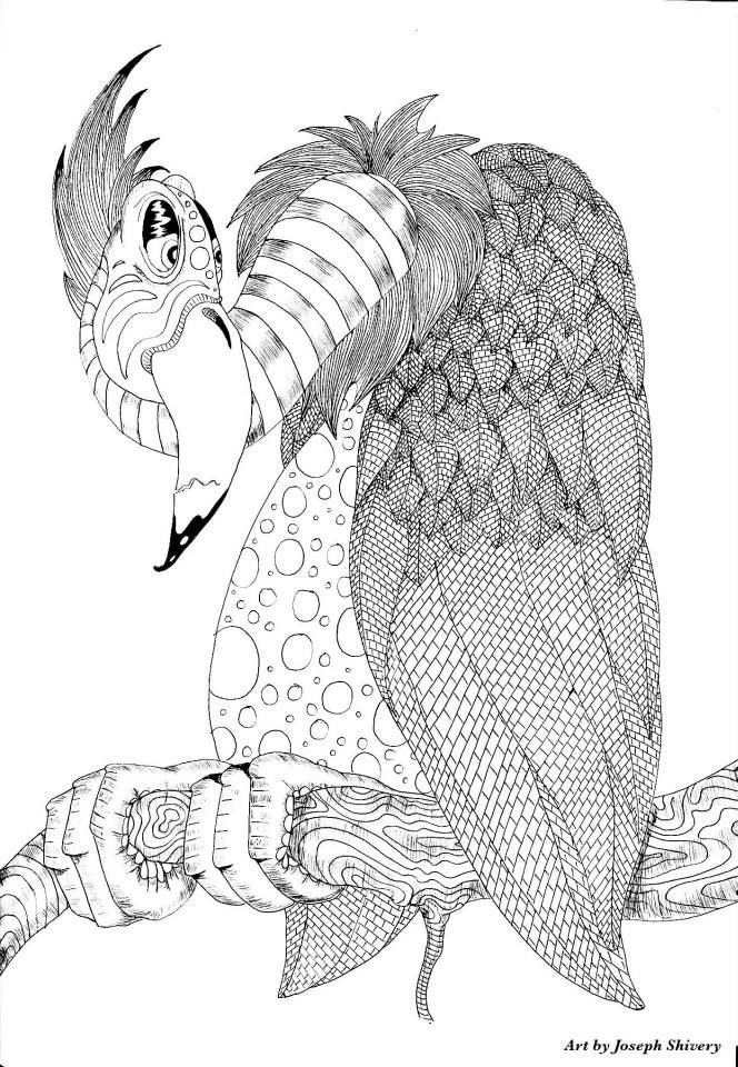 Buzzard by Joseph Shivery Zentangle coloring page | coloring pages ...