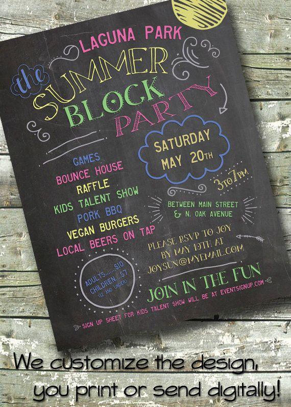 Chalkboard Neighborhood Block Party  Blackboard Summer Picnic