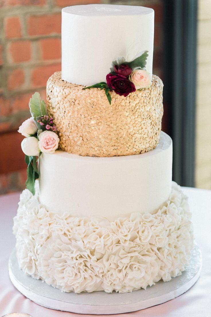 Glam romance, gold sprinkles, ruffled buttercream, white wedding ...