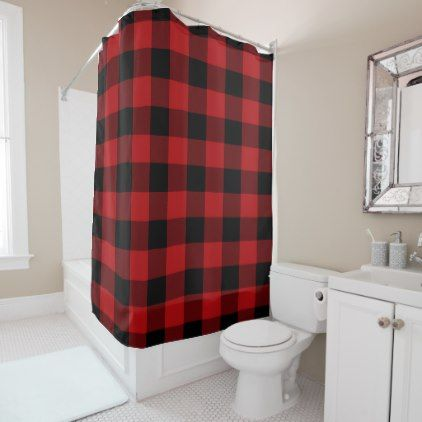 Red Black Rustic Buffalo Plaid Checkered Shower Curtain Zazzle Com Bathroom Red Modern Shower Curtains Plaid Shower Curtain