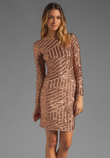131bdd4a8a Bcbgmaxazria Sequin Long Sleeve Scoop Back Dress in Brown (rose gold) | Lyst