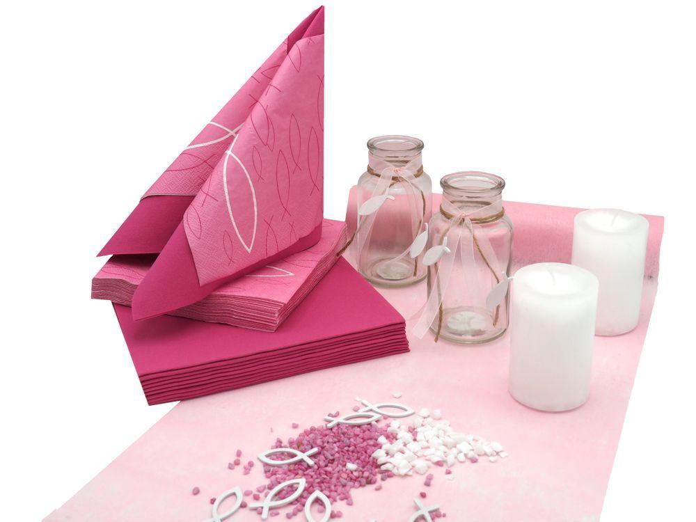 Tischdeko Kommunion Konfirmation Pink Rosa Weiss Fisch Set 20 Personen Tischdeko Kommunion Konfirmation Tischdeko Konfirmation