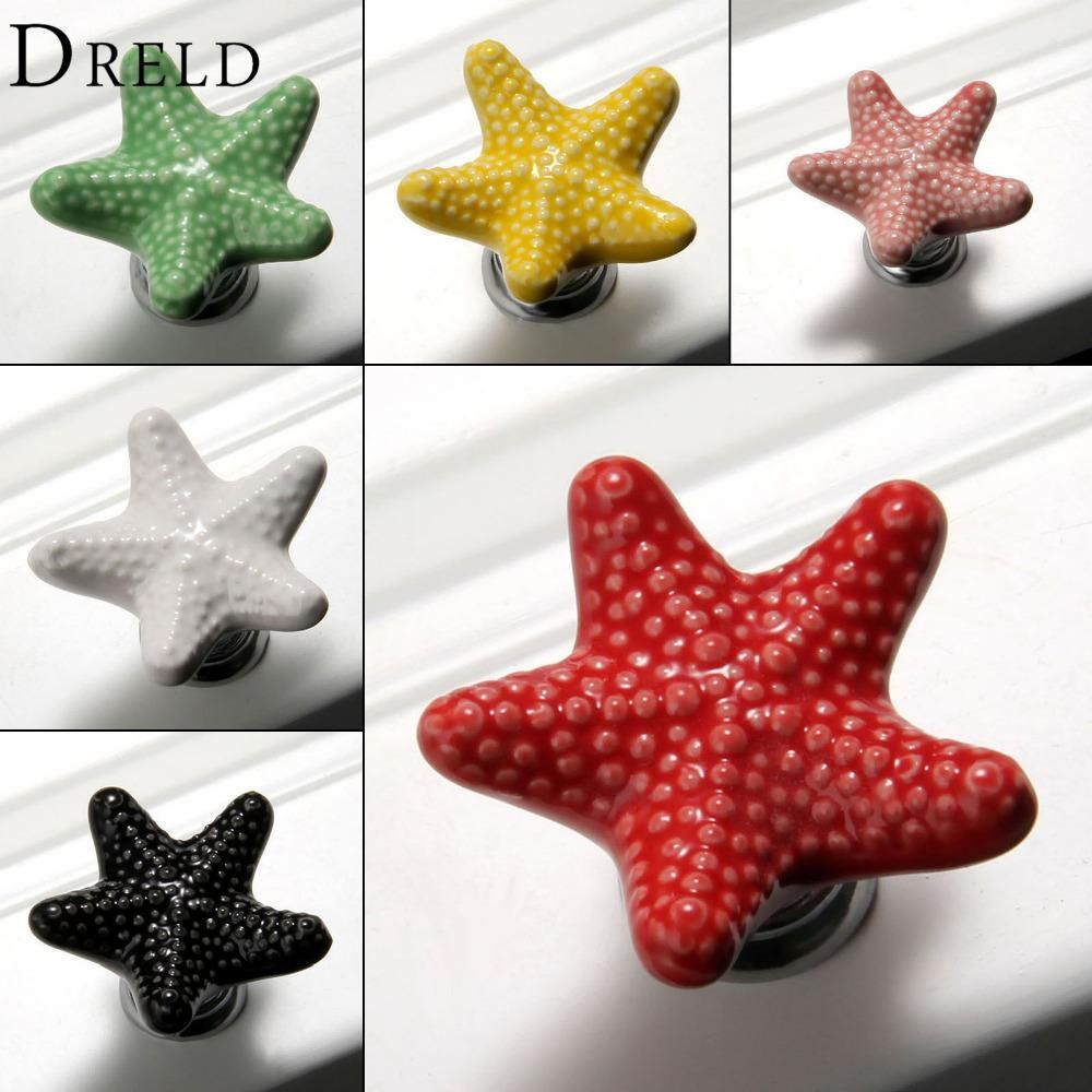 [Visit To Buy] Furniture Handles Starfish Cabinet Knobs And Handles Ceramic Door  Knob Cupboard