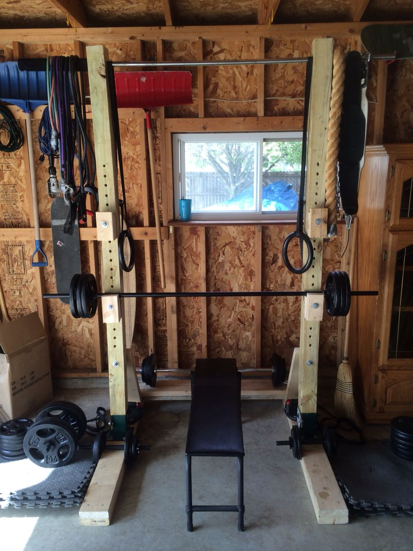 Cheap homemade squat rack home gym diy pinterest