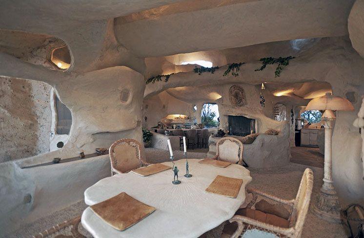 Amazing caveman style dining room flintstone house design. TV legend Dick Clark's House in Malibu.
