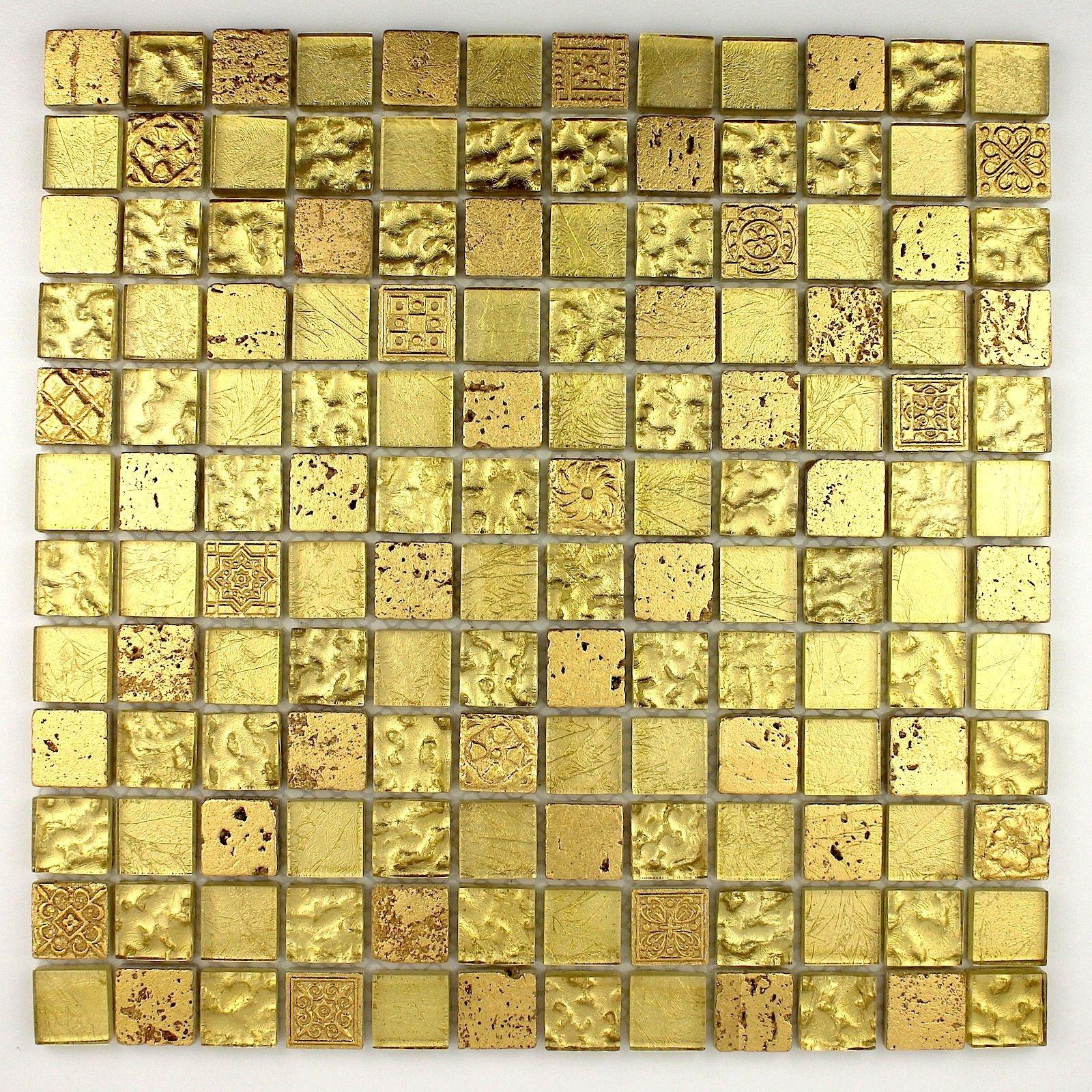 carrelage mosaique verre et pierre metallic gold 12 90