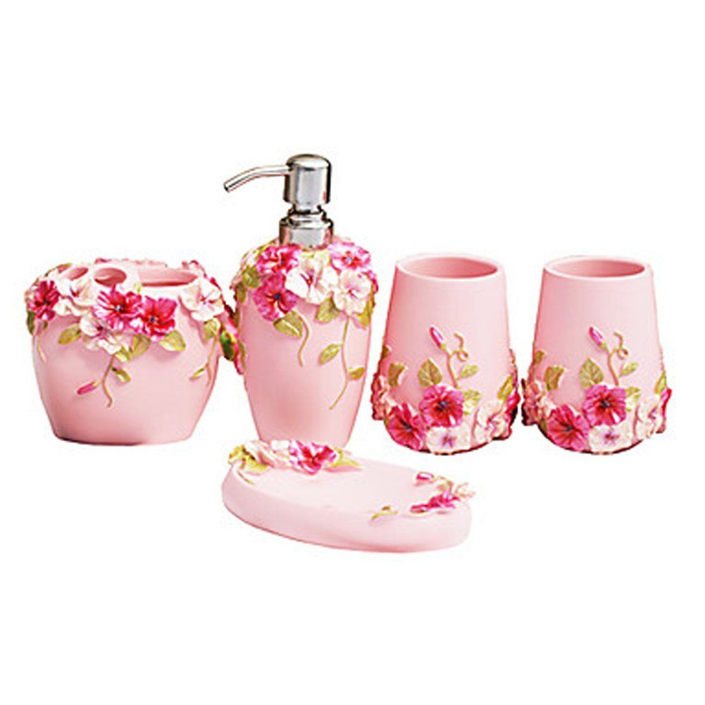 Amazon com fuloon country style resin 5pc bathroom accessories set soap dispenser toothbrush holder tumbler soap dish pink home kitchen