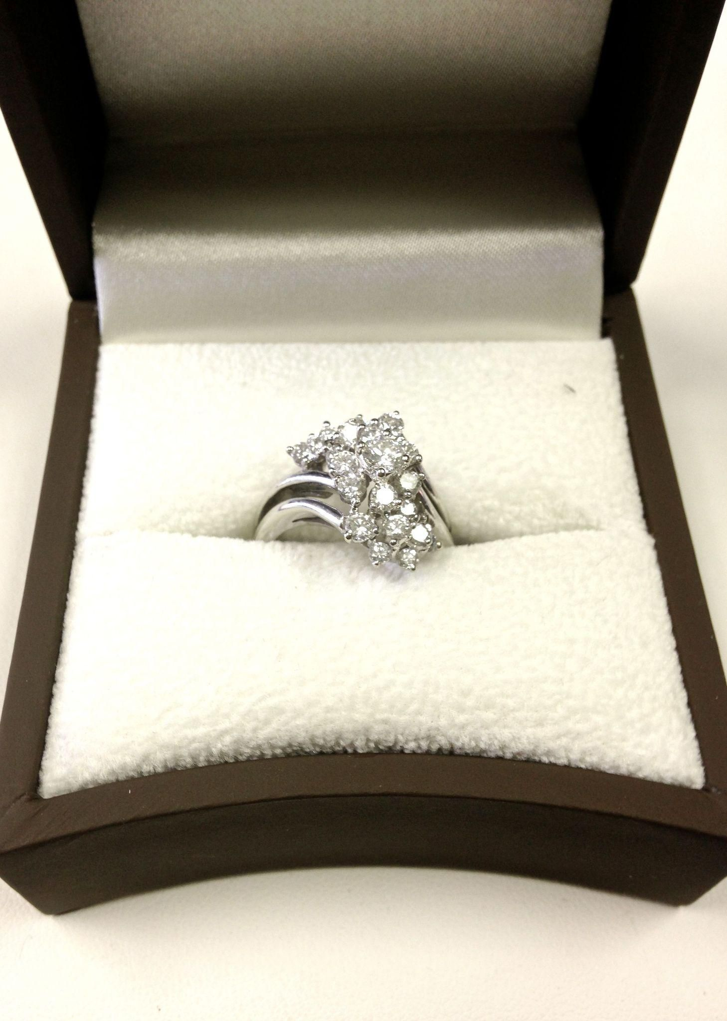 e57ace1019663 Exquisite Vintage Classic Waterfall Cluster Diamond Ring with 21 ...