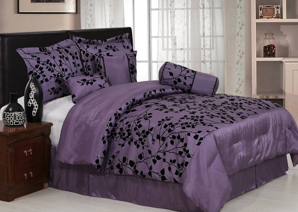chezmoi collection 7 pieces purple with black velvet floral flocking comforter in inch set bedinabag king size bedding